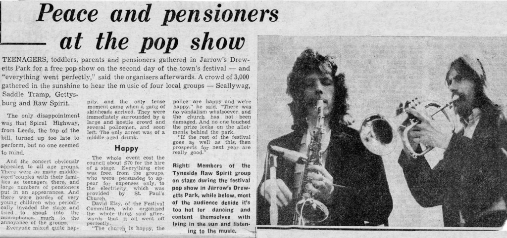 Newspaper clip of a festival in Jarrow. Roger and Jim incorrectly attributed to being members of Raw Spirit