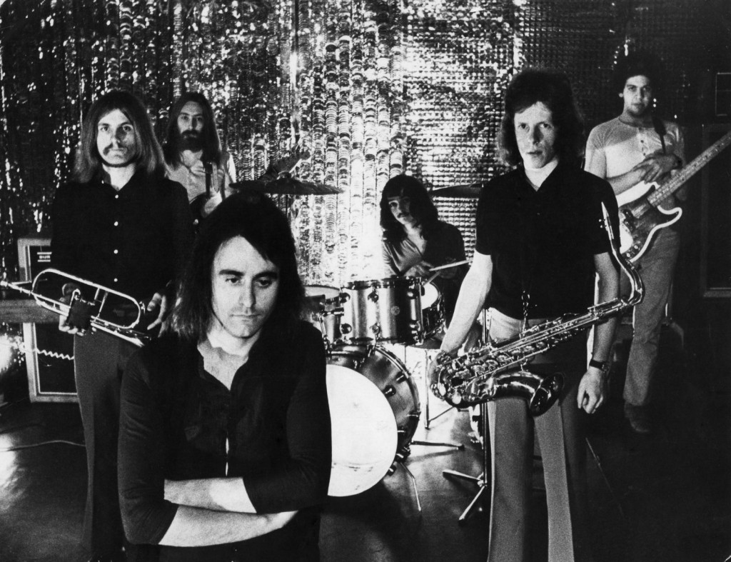Sneeze in 1970: Left to right – Jim Hall (flugelhorn), Mick Balls (guitar), Rod Foggon (vocals), Brian Gibson (drums), Roger Smith (tenor sax) and George Otigbah (bass)