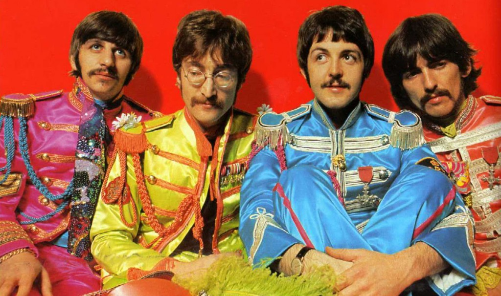 The Beatles in their Sergeant Pepper costumes
