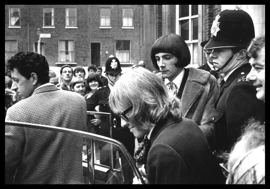 Brian Jones, guitarist with The Rolling Stones leaving Court after his drugs bust