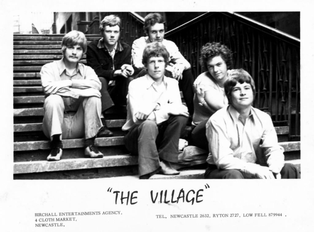 Village publicity photo (showing the address of the Ivan Birchall agency) left to right – Jim Hall, Keith Penfold, Roger Smith, Alf Larkin, Peter Bell and Dave Winter.