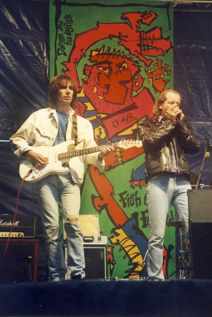 George Fearon and Bruce performing with the Alligators at the Fish Quay Festival in 1993