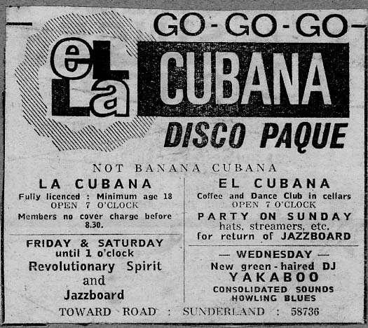 Advert for the el Cubana club, Sunderland'