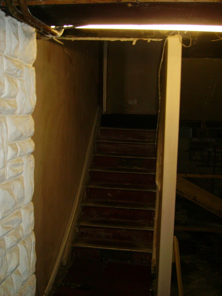 The stairs leading to the basement