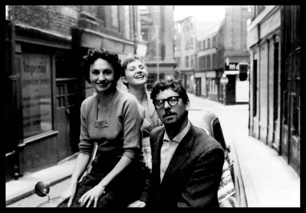 Mike Jeffery outside the Marimba in 1960 with girlfriend Jenny Clarke (centre) and a Marimba employee, Mrs Spraggin (left) – more about Jenny below. (Photo courtesy of Tommy Henderson)