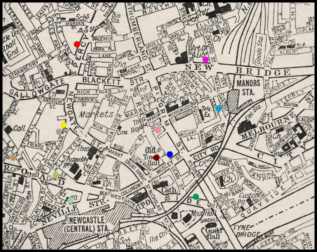 Newcastle clubs map