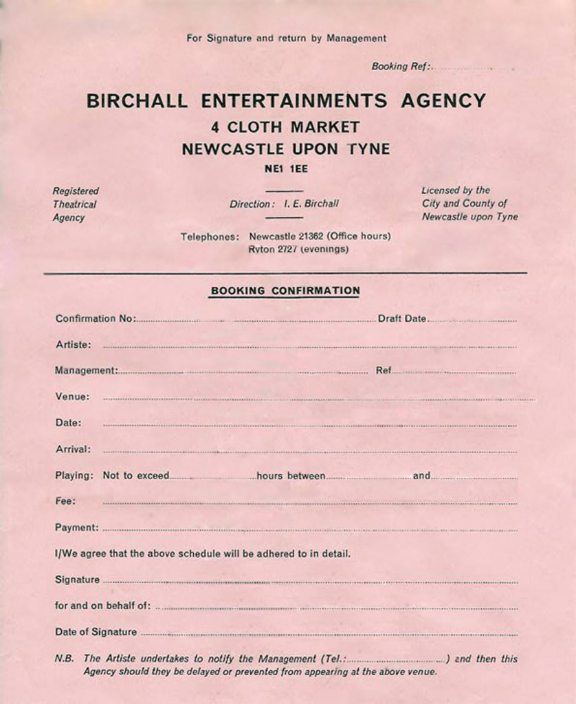 Contract used by the Birchall Agency in the 60's