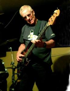 Roger playing a Motown and James Jamerson-inspired sunburst Fender bass guitar