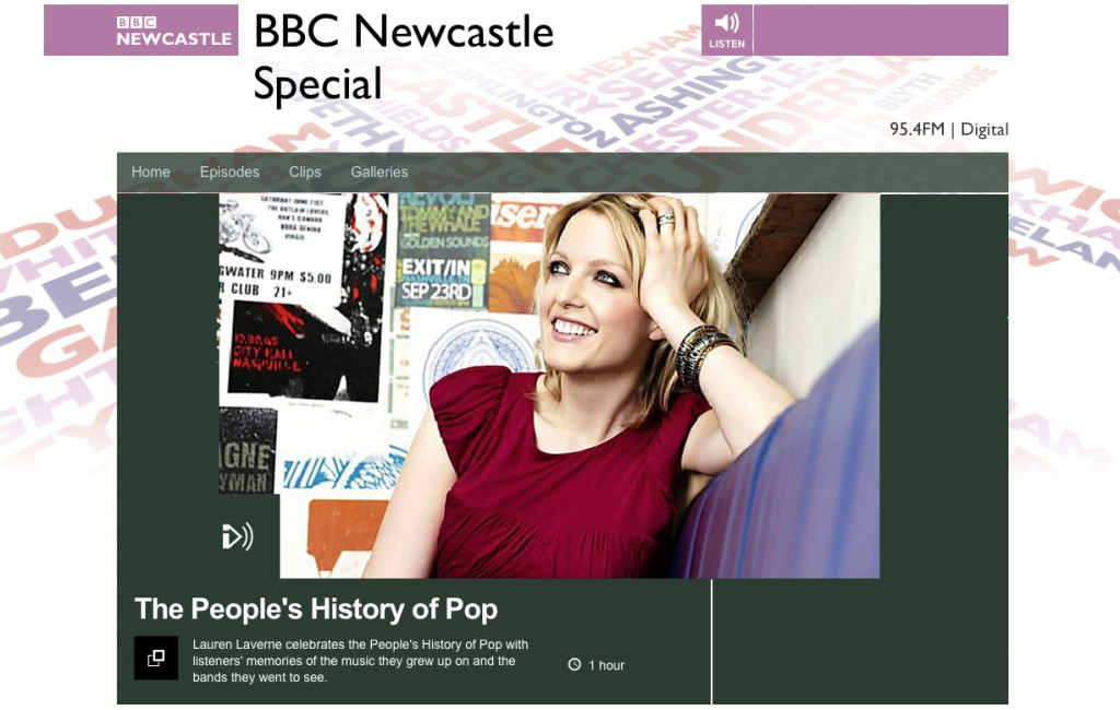 BBC Newcastle website, showing the People's History of Pop