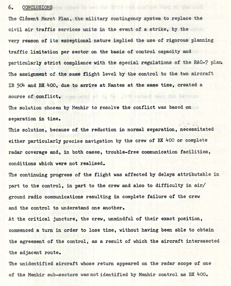 Conclusion of the accident investigation into the mid-air collision of the DC-9 (IB 504) and Coronado (BX 400)