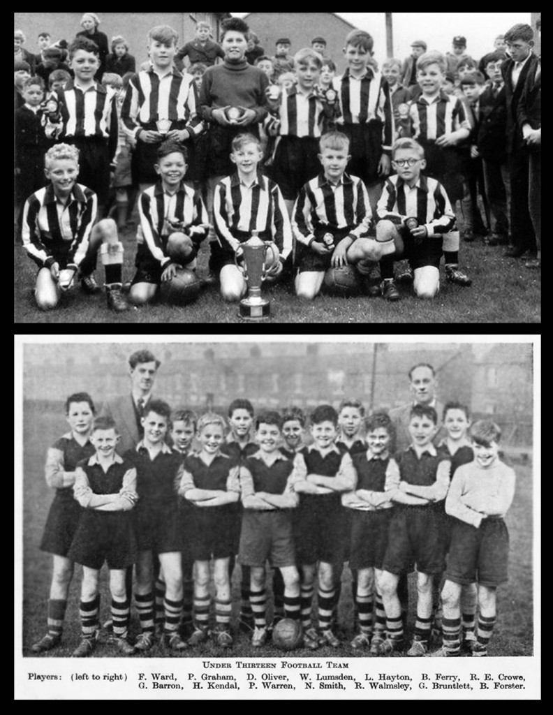 Top picture: Bryan Ferry with his primary school football team (3rd left back row). Below: In the Grammar school team